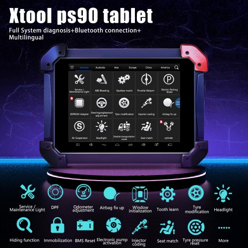 [UK Ship] XTOOL PS90 Tablet Full System Diagnostic Tool and 12 Special Functions for Immobilizer/Oil Reset/EPB/BMS/SAS/DPF/TPMS Reset