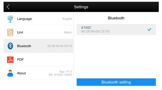 X100C bluetooth connect successfully