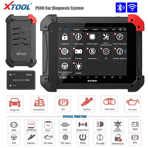 XTOOL PS90 Pro for Cars and Truck 2 in 1 PS90+PS90 HD Heavy Duty OBDII Diagnostic Tool for Oil Reset/EPB/BMS/SAS/DPF/TPMS Relearn and Key IMMO